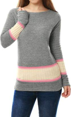 uxcell Cashmerelina Women Boat Neck Jersey Contrast Rib Knit Cashmere Sweater M