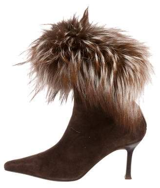 CH Carolina Herrera Fur-Trimmed Ankle Boots