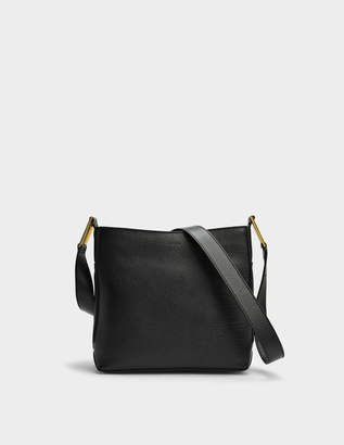 Lancel Max S Zip Crossbody Bag in Black Grained Leather