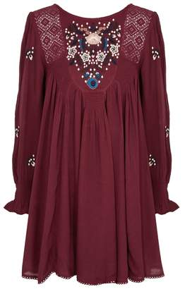 Free People Mohave Embroidered Burgundy Dress