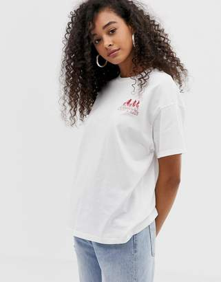 Pull&Bear Stranger Things friend dont lie motif t shirt in white