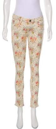 Paige Floral Low-Rise Jeans