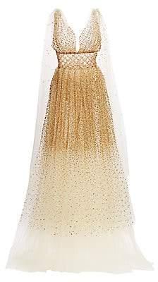 Oscar de la Renta Women's Embellished Tulle Cape Gown