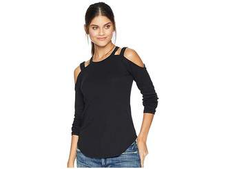 Chaser Vintage Rib Long Sleeve Strappy Open Shoulder Shirttail Tee