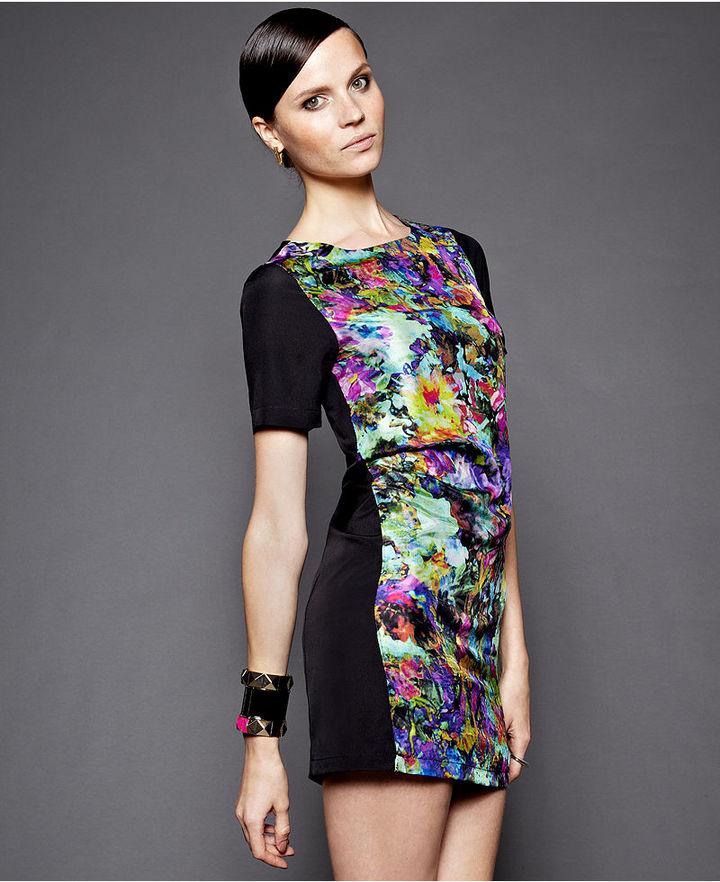 Petticoat Alley Dress, Short-Sleeve High-Neck Printed Sheath