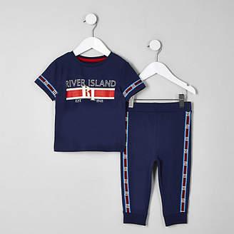 River Island Mini boys navy RI tape pajama set