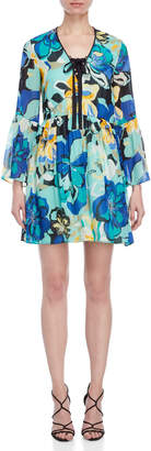 Atos Lombardini Floral Print Bell Sleeve Dress