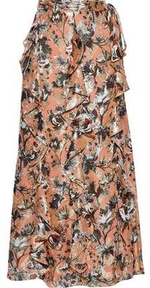 Diane von Furstenberg Salona Fil Coupe Silk-blend Chiffon Maxi Wrap Skirt