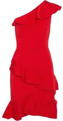Marchesa One-Shoulder Ruffled Satin-Twill Dress