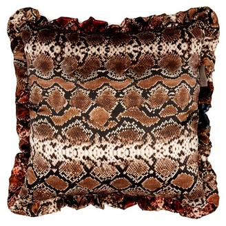 Preen by Thornton Bregazzi Flora And Snakeskin Printed Silk Cushion - Womens - Black Multi
