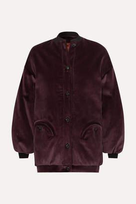 BLAZÉ MILANO Downtown Cotton-corduroy Bomber Jacket - Dark purple