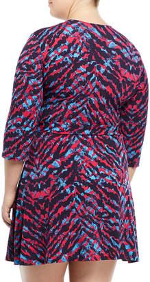 Neiman Marcus Perfect Faux-Wrap Mini-Dress, Plus Size