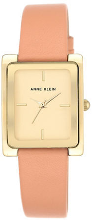 Anne Klein Anne Klein Rectangular Leather Strap Watch