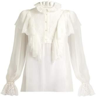 Dolce & Gabbana Ruffled lace and chiffon blouse