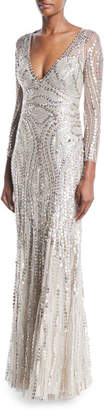 Jenny Packham Long-Sleeve Sequined Illusion-Back Gown