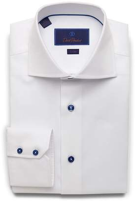 David Donahue Trim Fit Micro Dobby Dress Shirt