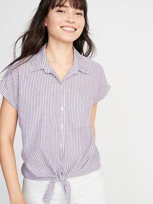 Old Navy Relaxed Tie-Hem Button-Front Striped Shirt for Women