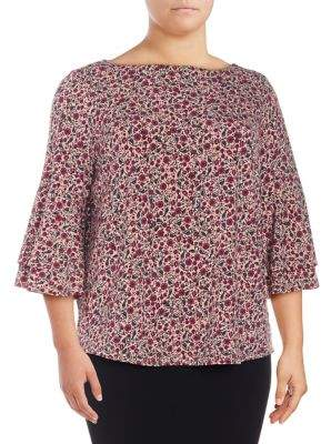 Context Plus Floral-Print Bell-Sleeve Blouse