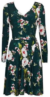Wallis Green Floral Print Fit and Flare Dress