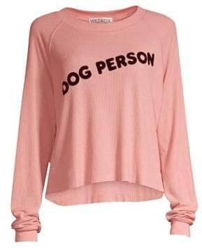 Wildfox Couture Women's Dog Person Monte Crop Sweatshirt - Taupe Rose - Size XS