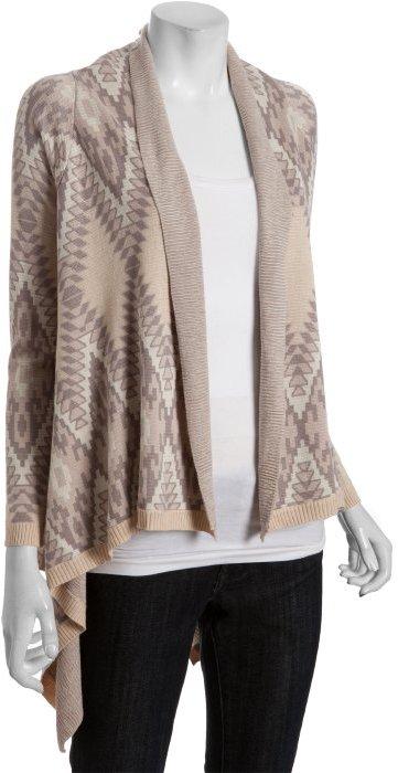 Heartloom buff aztec print cotton blend 'Leroy' cardigan sweater