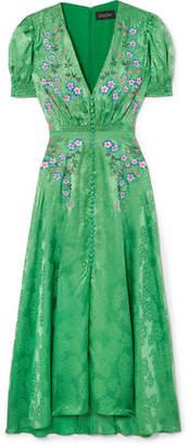 Lea Embroidered Silk-satin Jacquard Midi Dress - Green