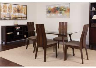 Flash Furniture Berkeley 5 Piece Espresso Wood Dining Table Set with Glass Top and Wide Slat Back Wood Dining Chairs - Padded Seats