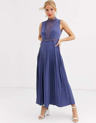 Little Mistress lace detail midi dress with pleated skirt in lavender grey