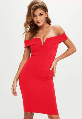 Missguided Red V Front Bardot Midi Dress, Red
