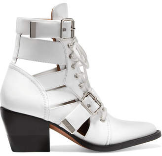 Chloé Rylee Cutout Glossed-leather Ankle Boots - White