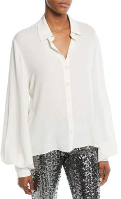 Alexis Aster Button-Front Long-Sleeve Silk Top