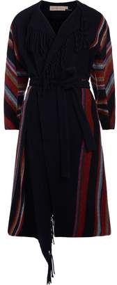 Tory Burch Alice Blue Wool Coat With Multicolori Stripes And Fringes
