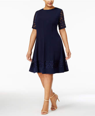 Jessica Howard Plus Size Lace-Sleeve Fit & Flare Dress $99 thestylecure.com