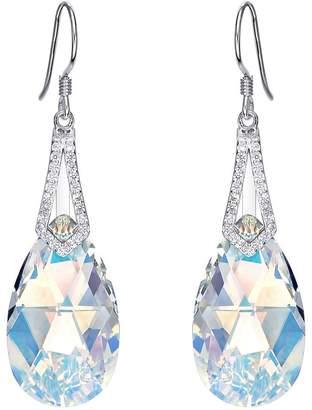 Swarovski EleQueen 925 Sterling Silver CZ Teardrop Bridal Hook Dangle Earrings Adorned with Crystals