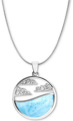 """Marahlago Larimar & White Sapphire Accent Cloud 21"""" Pendant Necklace in Sterling Silver"""