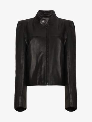 Vetements Structured shoulders leather jacket
