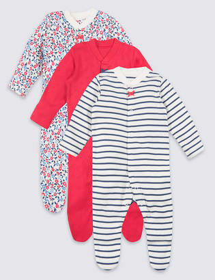 009f0643d777 Marks and Spencer 3 Pack Organic Cotton Sleepsuits