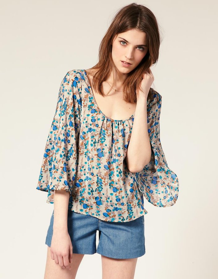 Warehouse Silk Linear Poppy Blouse