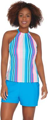 Isaac Mizrahi Live! Striped Halterkini with Swim Short
