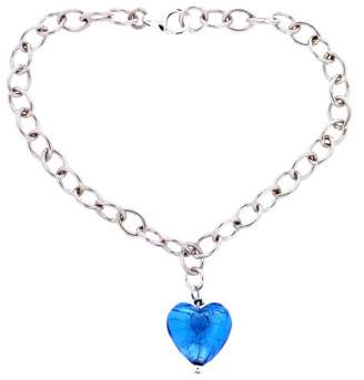 Murano Bellissi Venezia Sterling Silver Genuine Glass Aqua Heart Bracelet of 18.5cm