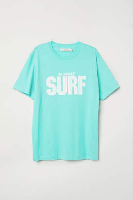 H&M T-shirt with Printed Design - Green