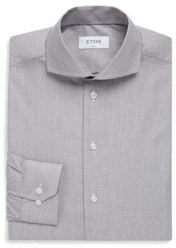 Eton Bird's Eye Printed Cotton Dress Shirt