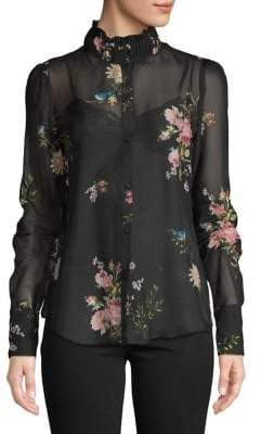 Joie Floral-Print Silk Button-Down Shirt