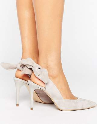 Carvela Ava Grey Suede Bow Sling Heeled Shoes