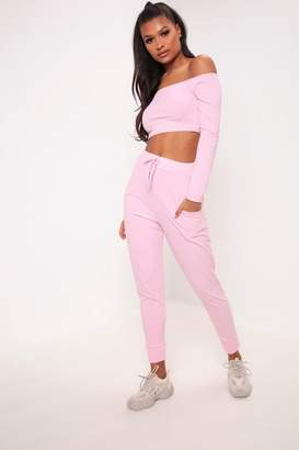 I SAW IT FIRST Pink Brushed Ribbed Joggers