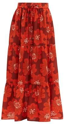 Dodo Bar Or Batia Floral Print Cotton Poplin Maxi Skirt - Womens - Burgundy Print