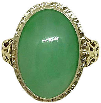 One Kings Lane Vintage 14K Gold & Jade Cabochon Ring - Little Treasures