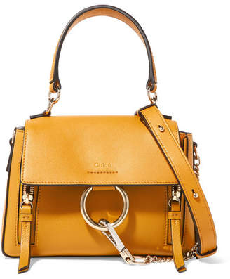 Chloé Faye Day Mini Textured-leather Shoulder Bag - Mustard