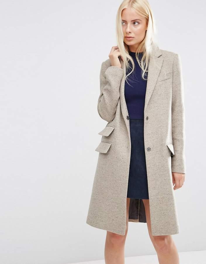 AsosASOS Wool Blend Slim Coat With Pocket Detail