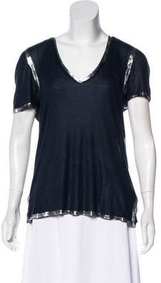 Zadig & Voltaire Metallic V-Neck T-Shirt
